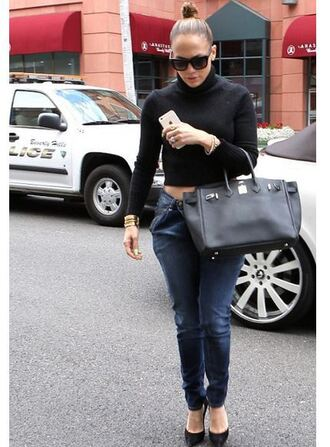 jeans top pants jennifer lopez pumps cropped turtleneck