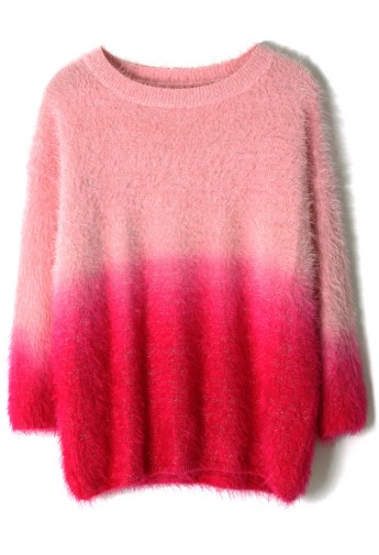 Pink Color Ombre Fluffy Sweater - Retro, Indie and Unique Fashion