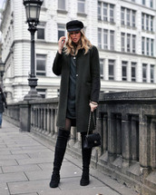 coat,tumblr,green coat,dress,black dress,mini dress,tights,boots,black boots,over the knee boots,hat,fisherman cap,bag,black bag