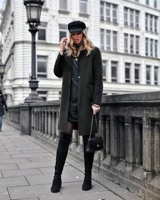 coat tumblr green coat dress black dress mini dress tights boots black boots over the knee boots hat fisherman cap bag black bag