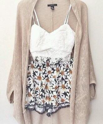 cardigan shorts top sunflower floral flowers pom pom black white yellow loose loose fit