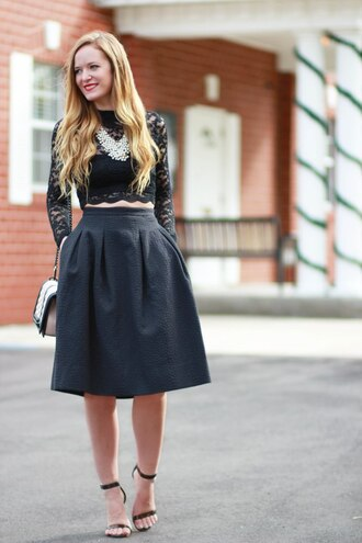 skirt black lace top silver statement necklace black midi skirt strappy heels