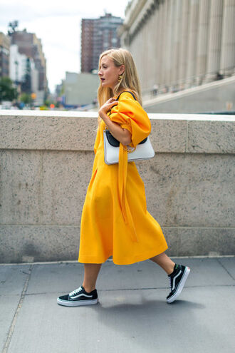 dress tumblr yellow dress midi dress j w anderson black and white puffed sleeves sneakers black sneakers vans streetstyle j.w.anderson bag puff sleeve dress jw anderson bag