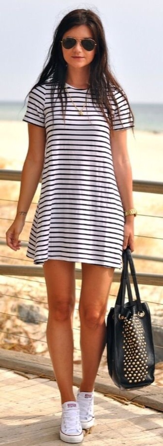 dress stripes summer dress casual