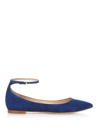 flats suede blue shoes