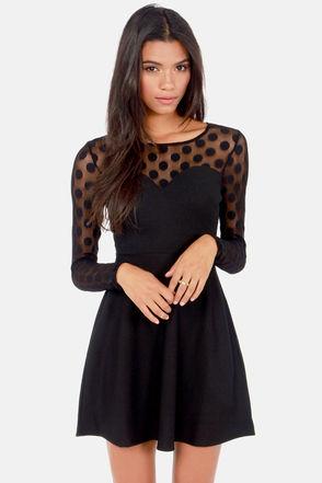 Cute Black Dress - Backless Dress - Long Sleeve Dress - $43.00