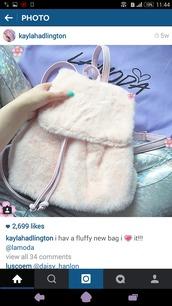 bag,fur backpack,fur,backpack,pink,pastel pink,pastel,kawaii,cute,pastel bag