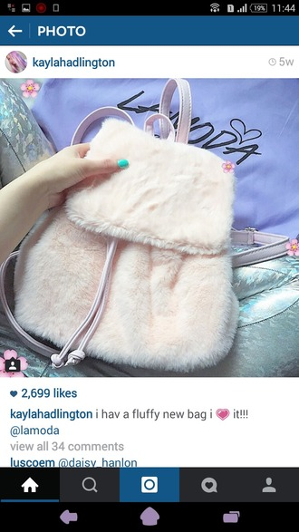 bag fur backpack fur backpack pink pastel pink pastel kawaii cute pastel bag