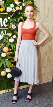 skirt,midi skirt,sandals,top,kate bosworth,pleated