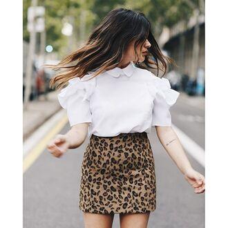 blouse bloom sleeve ruffle coldshoulder fashion storets