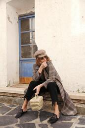 my daily style,blogger,coat,jeans,sunglasses,loafers,basket bag,fisherman cap,black pants