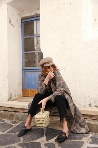 my daily style blogger coat jeans sunglasses loafers basket bag fisherman cap black pants