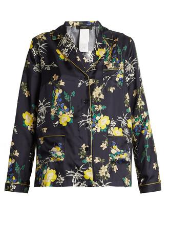 shirt navy print top
