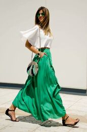 skirt,clothes,blouse,white,silk,maxi,slit,flowing,shoes,sandals,flat sandals,black sandals,black low heel sandals,green skirt,maxi skirt,top,white top,summer outfits,bag,round bag,sunglasses,mirrored sunglasses