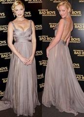 katherine heigl,grey's anatomy,grey,silver,formal dress,evening dress,backless prom dress,chiffon,dress