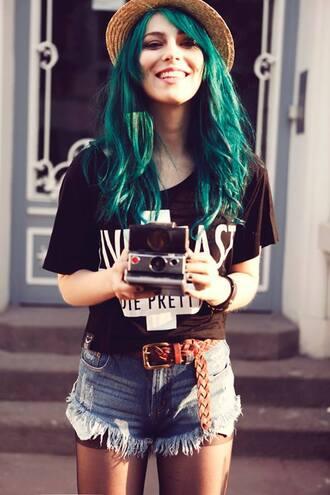 shorts hipster camera grunge tights teal hair dye