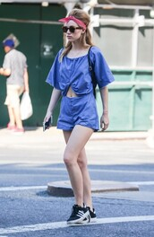 romper,suki waterhouse,sneakers,sunglasses,phone,backpack,hair accessory,shoes,blue romper,zara
