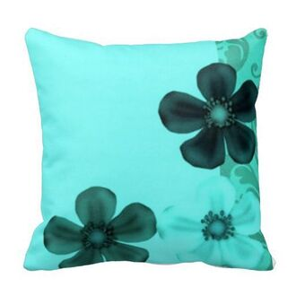 home accessory pillow floral turquoise