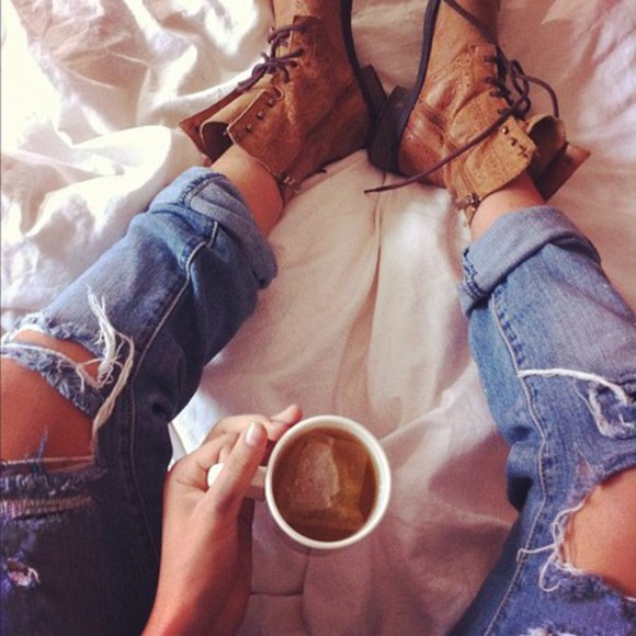 jeans military shoes denim ripped jeans light boots lazy day