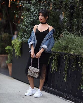dress black slip dress denim jacket white sneakers grey purse blogger black choker jewelry necklace choker necklace black velvet choker accessories