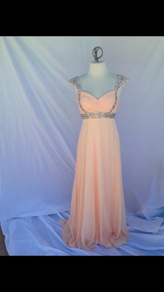 prom dress peach prom dresses 2014 peach dress studs