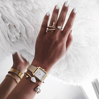 jewels tumblr gold jewelry gold ring gold bracelet bracelets gold watch watch nail polish nails white nails