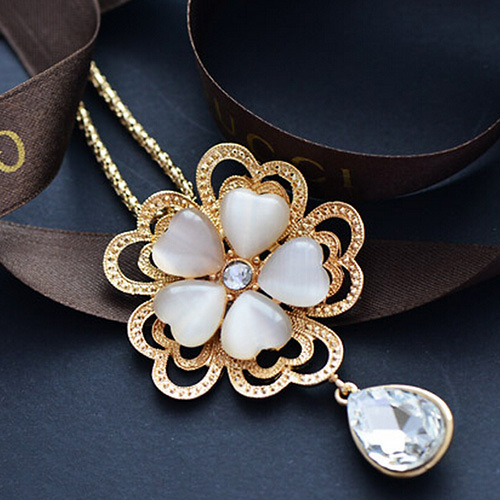 [grxjy5100318]Fashion Water-drop Heart Shaped Flower Pendant Lomh Necklace