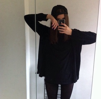shirt black black sweater grunge soft grunge tumblr tumblr girl kawaii dark grunge aesthetic black t-shirt