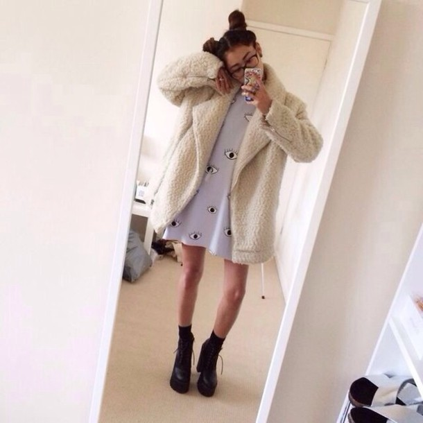 jacket hipster indie cool grunge sheep jacket sheep eye dress eye platform shoes outfit shoes coat alternative fur coat tumblr outfit tumblr clothes trendy on point clothing shoe game lookbook dress t-shirt dress style sheepcoat white