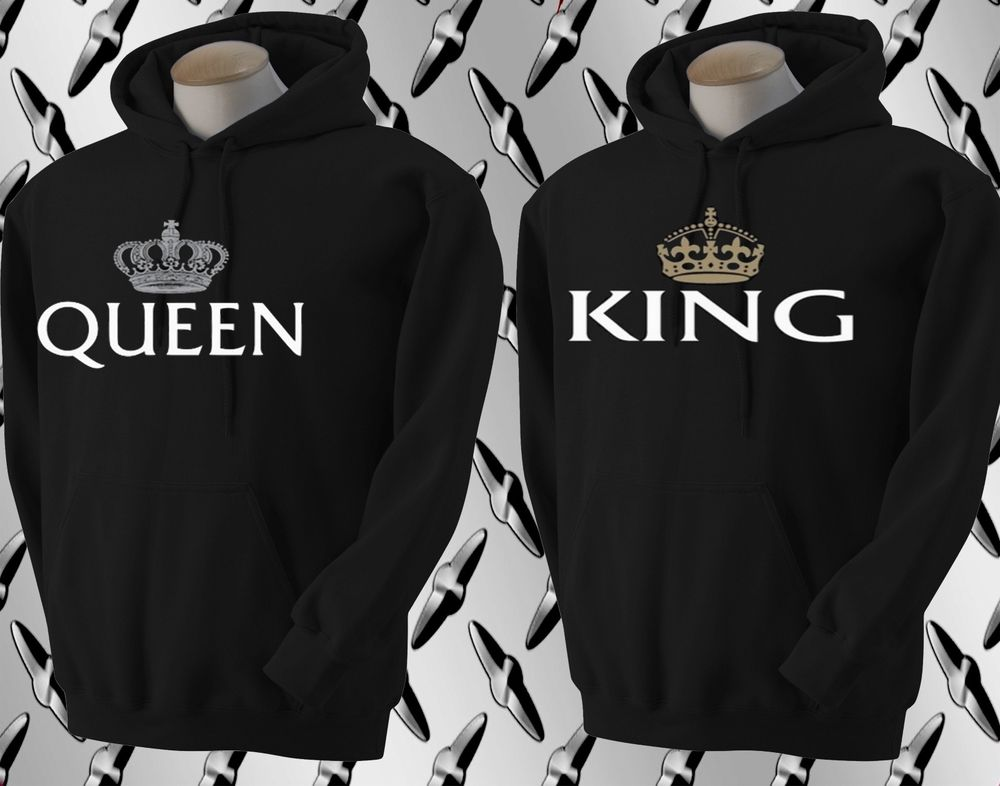 king and queen couple matching hoodie black. Black Bedroom Furniture Sets. Home Design Ideas