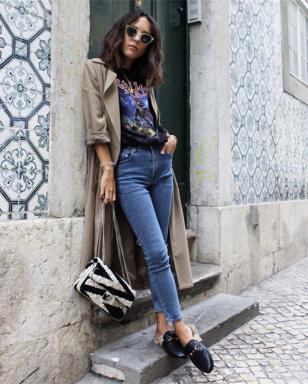 coat tumblr grey coat duster coat denim jeans blue jeans skinny jeans loafers black shoes shoes gucci gucci shoes gucci princetown t-shirt black t-shirt graphic tee bag printed bag fall outfits sunglasses cat eye logo tee blogger style grey trench coat trench coat gucci bag furry bag furry shoes blogger band t-shirt slippers clutch