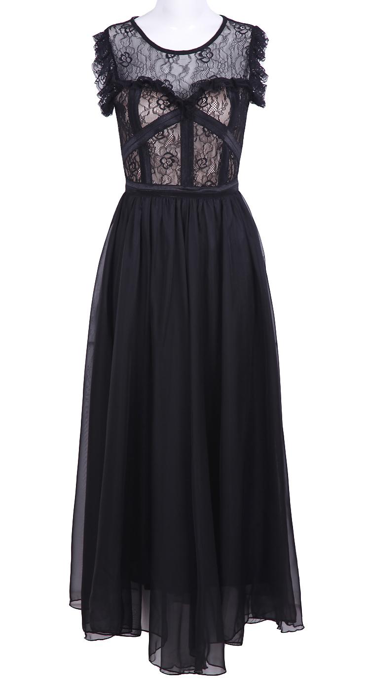 Black sleeveless lace chiffon full
