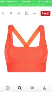 top,coral,orange,sports bra,active