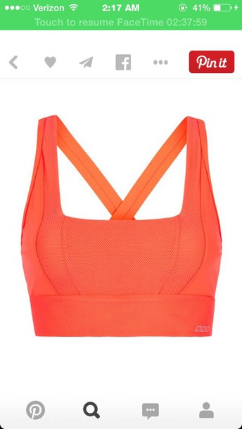 top coral orange sports bra active