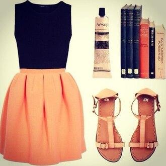 shoes skirt orange skirt черный топ книги фирма hm