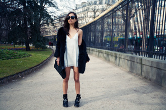 fashiontoast blogger fuzzy coat white dress cut out ankle boots