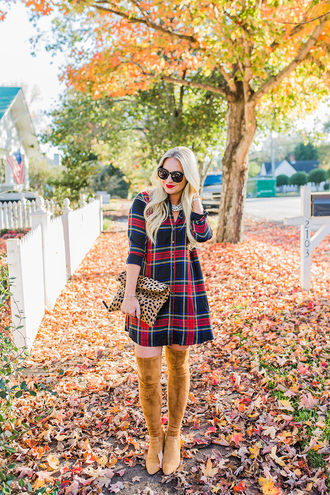 cortinsession blogger dress jacket shoes bag jewels sunglasses fall outfits clutch shirt dress plaid dress boots thigh high boots