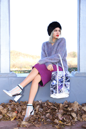 xander vintage blogger bag socks hat pencil skirt purple fuzzy sweater sandals socks and sandals