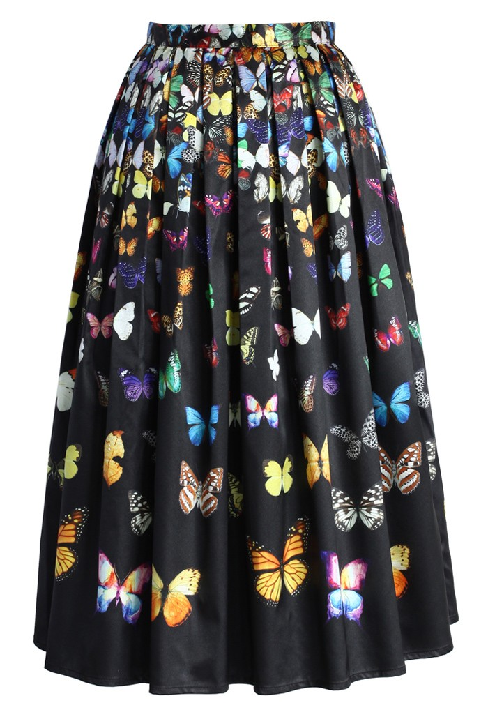 Dreamy Butterfly Pleated Midi Skirt in Black - Retro, Indie and Unique Fashion