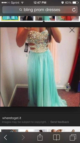 dress prom dress tiffany blue bling dress