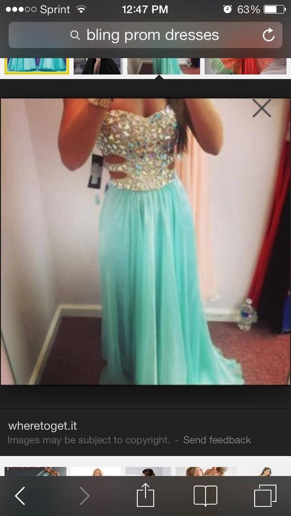 dress prom dress tiffany blue bling dress
