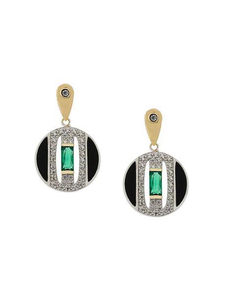 V Jewellery women earrings gold silver grey metallic jewels