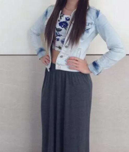 skirt grey gris jupe maxi skirt denim jacket denim crop tops t-shirt jacket