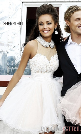 dress white dress white lace dress prom dress party dress sherri hill