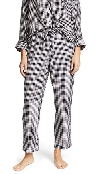 Sleepy Jones pants pajama pants silk gingham white black