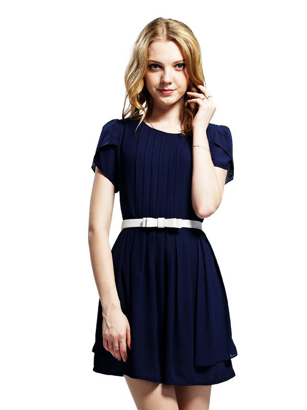 Chiffon Round Neck Short Sleeve Belt Pleated Dress : KissChic.com
