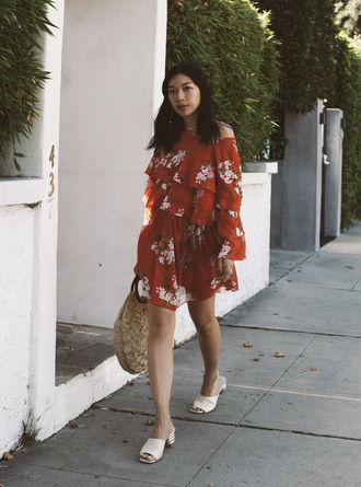 honey n silk blogger dress bag shoes jewels red dress basket bag mules summer dress summer outfits