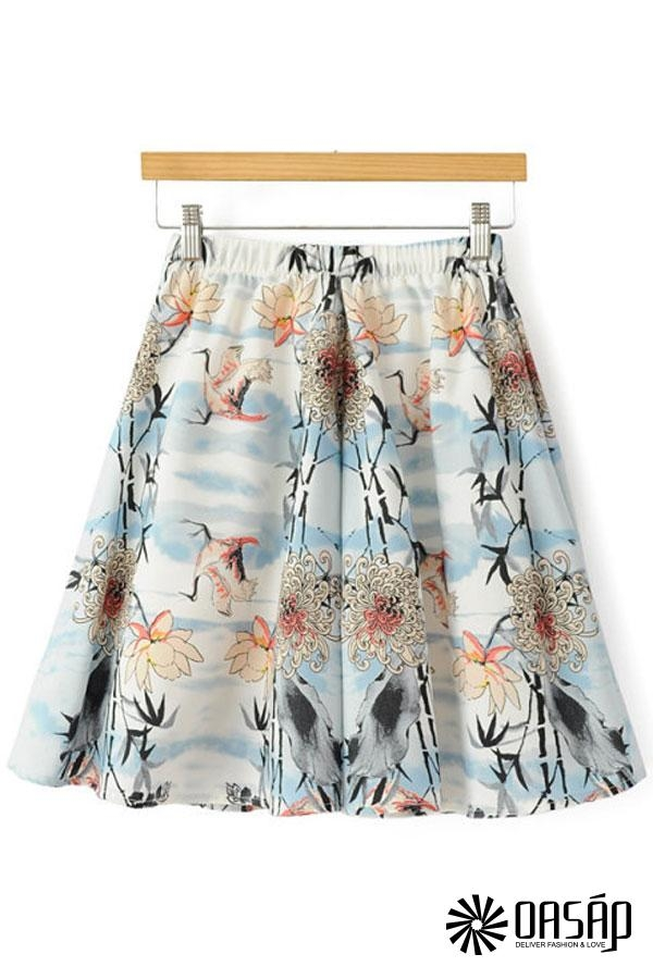 Chic Crane Print Skirt - OASAP.com