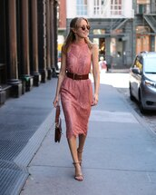memorandum,blogger,dress,bag,belt,shoes,sunglasses,jewels,pink dress,halter dress,lace dress,pink,round sunglasses,sandals,nude sandals,J.W.Anderson bag,date outfit