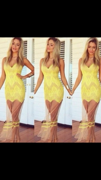 dress summer beach yellow lace